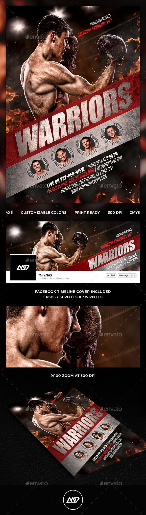 MMA - Boxing Flyer PSD Template • Only available here ➝ https://graphicriver.net/item/mma-boxing-flyer/12965730?ref=pxcr
