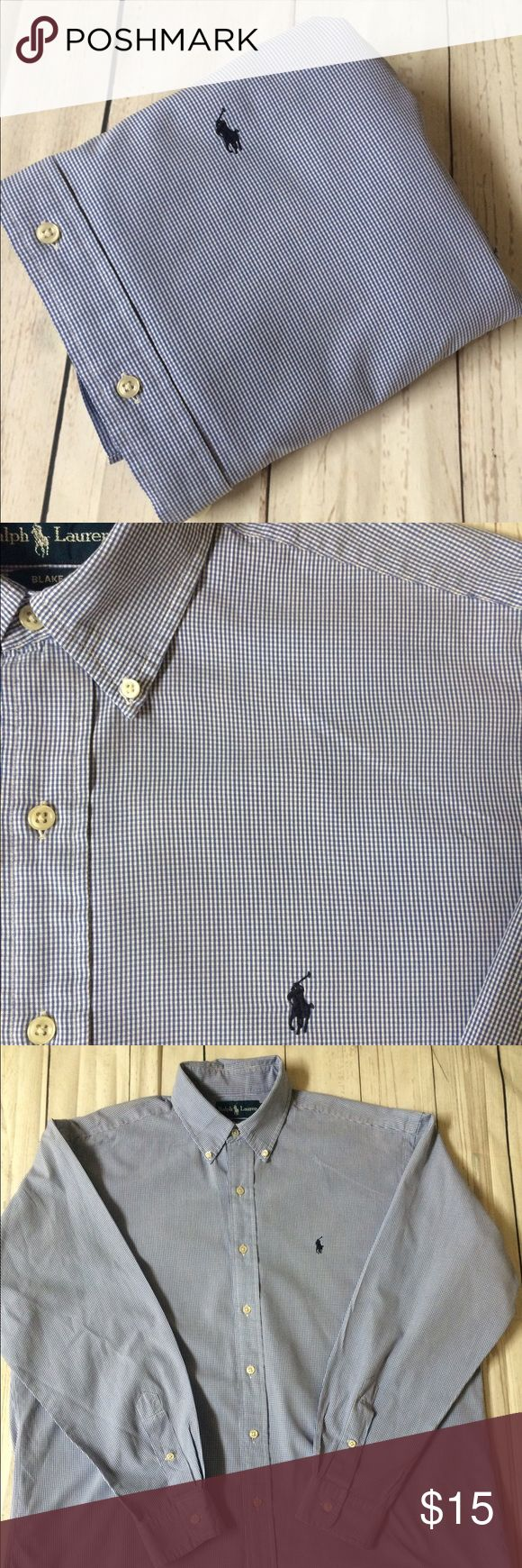 """🐰EASTER SALE🐰POLO•Ralph•Lauren•L•Shirt• 🐣EASTER SALE🐣 Men's Polo shirts are $15/ea🐣 No offers will be accepted or further reductions will be taken🐣 men's  long sleeve button front 100% cotton oxford shirt•L Blake per tag•Signature pony at chest•tiny amt of fraying & spot on back hem (not visibile when tucked in) as pictured• Chest: 27"""" Length: 33"""" Sleeve: 34"""" Shoulder: 21"""" Polo by Ralph Lauren Shirts Casual Button Down Shirts"""