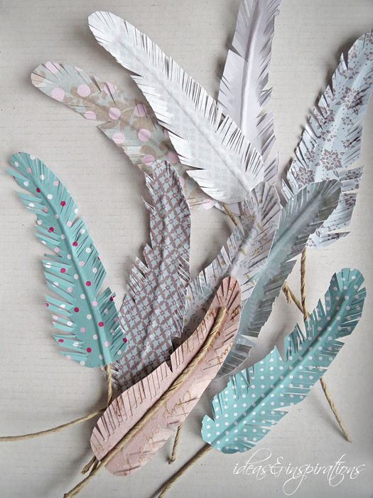 Federn aus Papier basteln. Auch eine tolle Idee für Geschenkverpackungen.