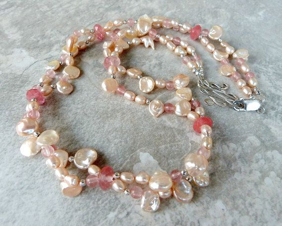Delicate Pink Keshi Pearl Necklace w Rose by TransfigurationsJlry