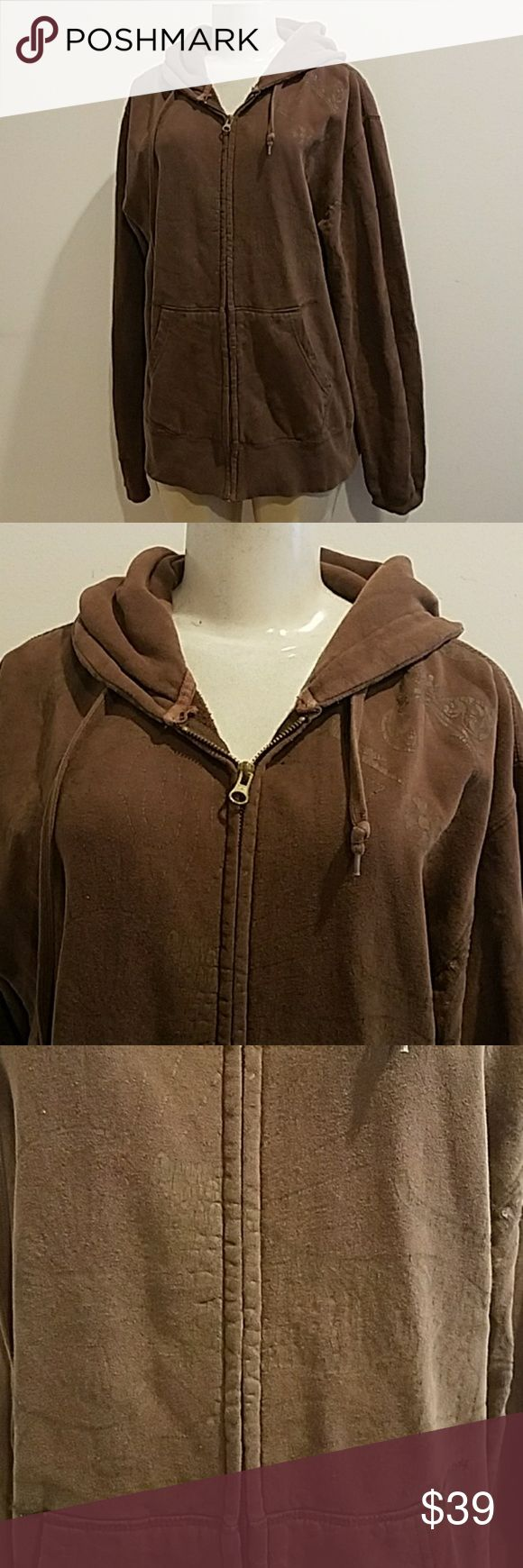 Men's OBEY Brown Zip Up Hoodie Sweater size XL Great condition Obey Sweaters Zip Up