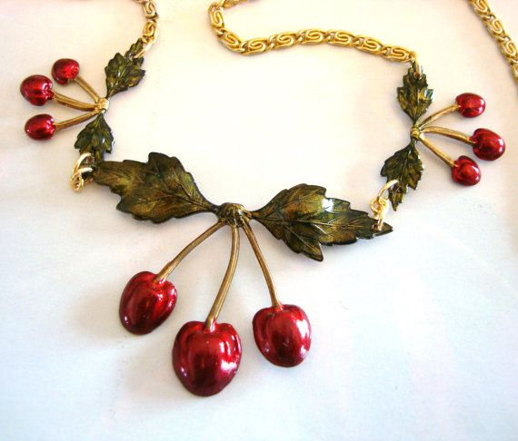 Rockabilly Cherries Necklace, Blood Cherry Red Pendants, Vintage Jewelry Chain, Custom Coloring