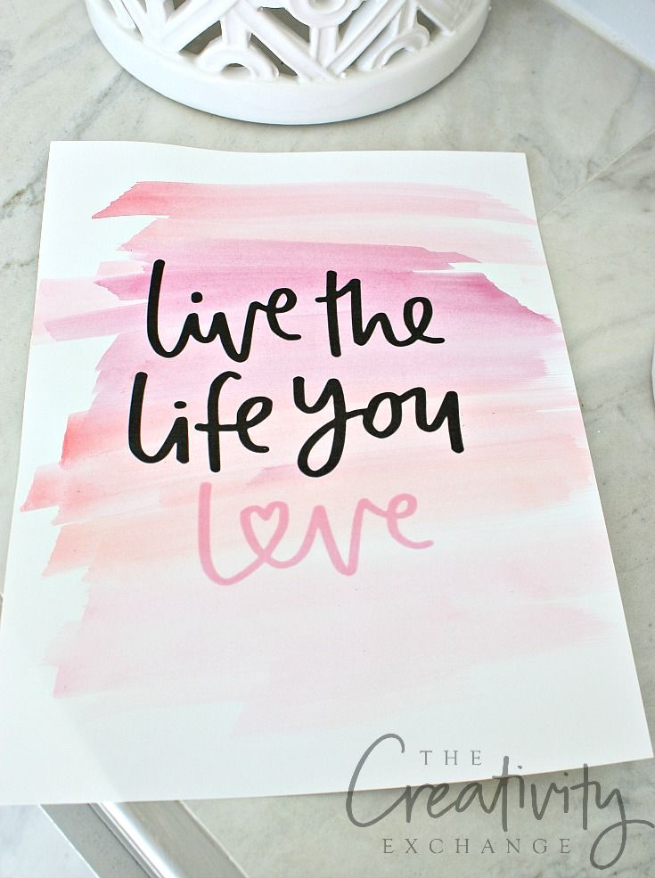 Free printable love prints. Add watercolor swipes.