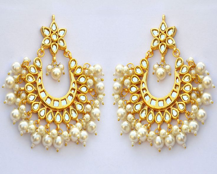 Indian Bollywood Latest Kundan  Earrings Indian Jewellery Gold Plated Set UKE003