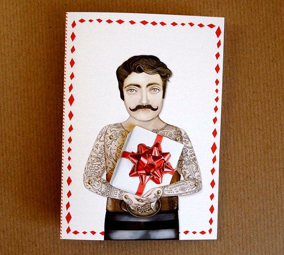 Victorian Tattooed Man Holiday Card Set of 10, $20