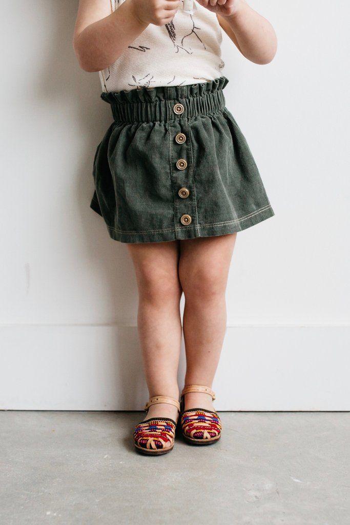 Skirt for Girls| Corduroy Skirt| Olive Green Skirt| Toddler Fashion| Bohemian Fashion| Handmad Kids Style|  the Paper-bag Waist Skirt in Green Corduroy