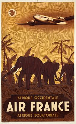 """Guerra, Vincent : Air France - West Africa - Equatorial Africa, 1948,  24"""" x 39"""" Lithograph, Backed on linen"""