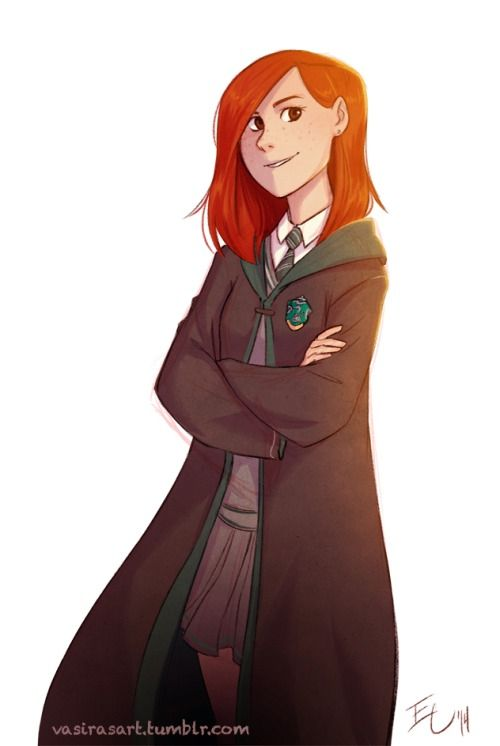 "Artist says, ""AU Headcanon! What if Ginny actually ended up in Slytherin and showed her whole family and Harry that just because you're Slytherin doesn't make you an obligatory A-hole (◕‿◕✿)"" <<< I like this, especially since I feel like Slytherins get a lot of hate for being the ""evil"" house."