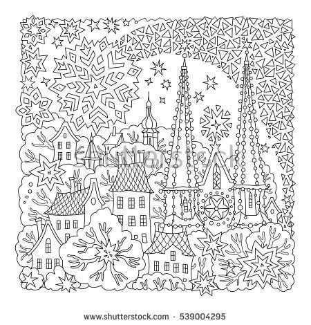 Fairy tale tree with castle old medieval town houses t shirt print coloring book page for adults and children