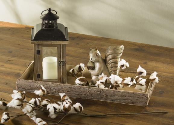 Lantern with squirrel and faux cotton branches from Craft Warehouse here in Oregon