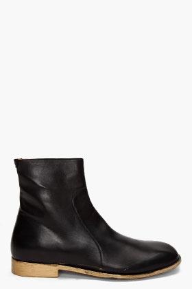 Maison Martin Margiela Leather Black Boots for men | SSENSEInspiration Men, Leather Black, Boots Today, Margiela Leather, Ssense Fashion, Black Boots, Men Fashion, Combat Boots, Maison Martin Margiela