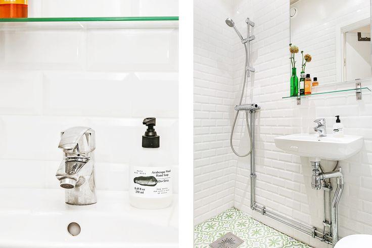 Badrum marrakech klinker subway tiles dusch hemnet grönt