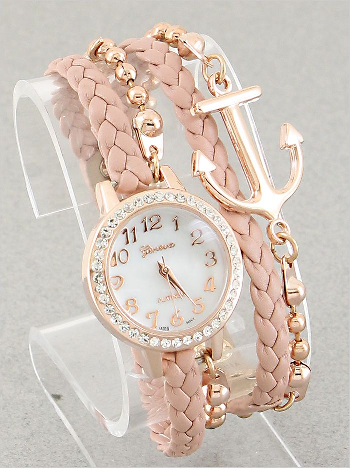 P.S. I Love You More Boutique | Anchor Bracelet Watch in Blush | Online Store Powered by Storenvy