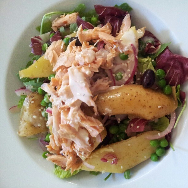 hot smoked salmon and potato salad w/ tahini dressing