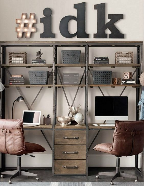 11 shared industrial teen boy study area with a shelving unit and desk tops - DigsDigs