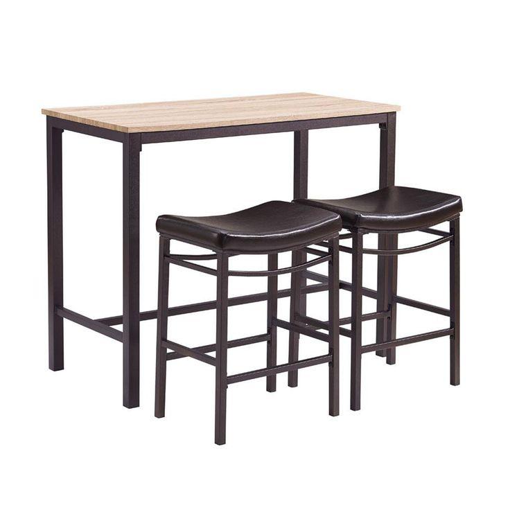 Linon Home Decor Betty 3-Piece Rustic Brown Bar Table Set