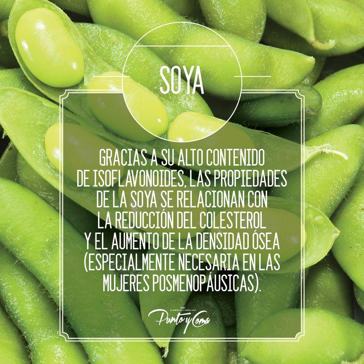 Soya. Gracias a su alto contenido de isoflavonoides, las propiedades de la soya se relacionan con la reducción del colesterol y el aumento de la densidad ósea (especialmente necesaria en las mujeres posmenopáusicas).