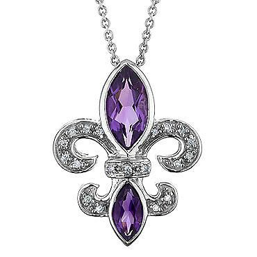 Amethyst and Diamond Fleur-de-lis Pendant