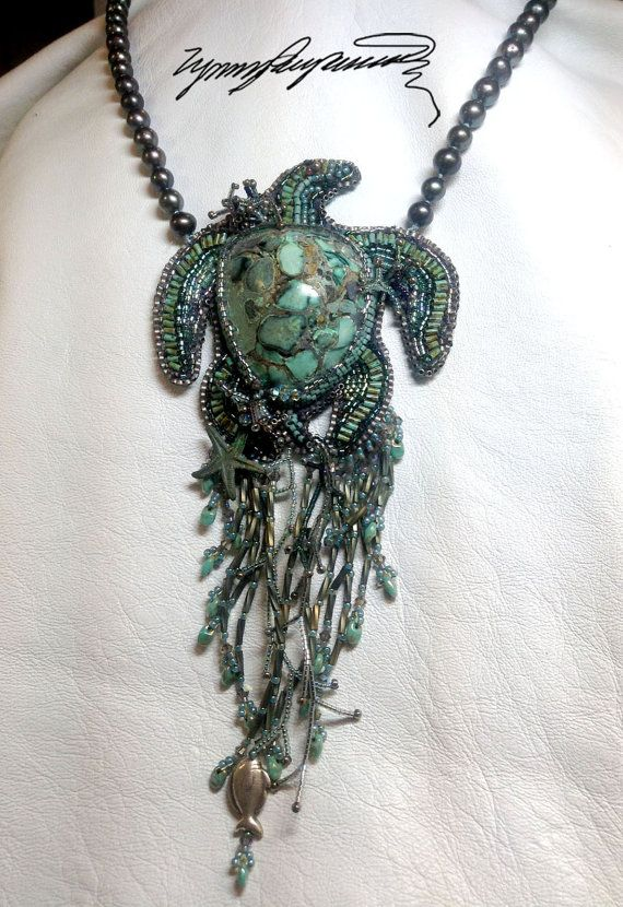 """Turtle Cay"""" created by Lynn Parpard One of a Kind Art Piece, Candelaria Turquoise necklace on Etsy, $310.00"""