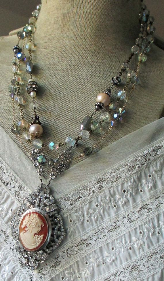 SOLD to Leslie vintage assemblage triple wrap by TheFrenchCircus vintage rhinestones
