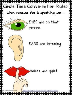 FREE Preschool Circle Time Conversation Poster to help your preschoolers remember to take turns talking!