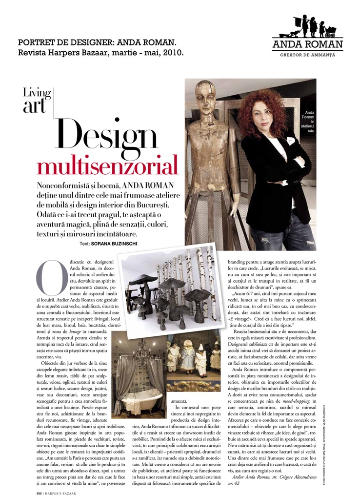 """Sensorial design - Anda Roman"" - Harpers Bazaar, March-May issues, 2010."