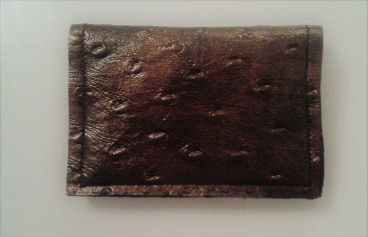 Porte carte en simili cuir marron avec des reflets bronze. : Porte-monnaie, portefeuilles par l-univers-de-lily