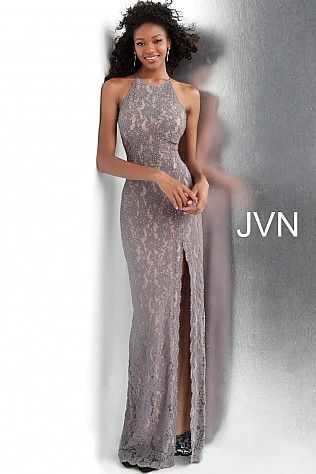 00b55d6190b Grey Lace High Slit Fitted Sleeveless Prom Dress JVN61347 in 2019 ...