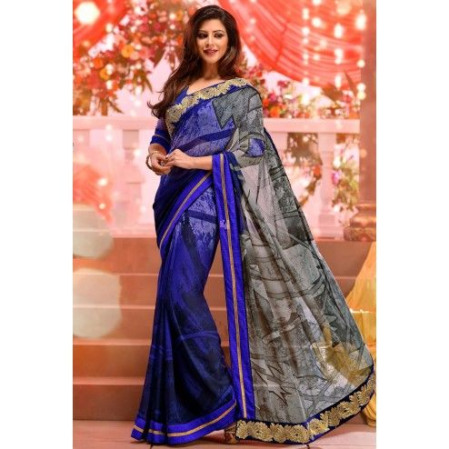 Blue Georgette #Saree With #Blouse #Clothing Buy Now