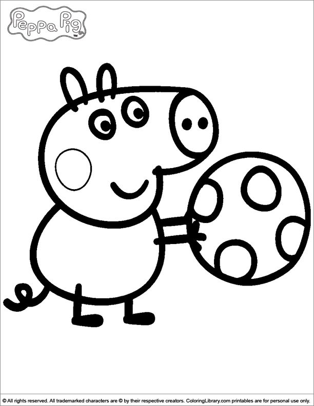 george playing with a ball peppa pig coloring page - Peppa Pig Coloring Pages Kids