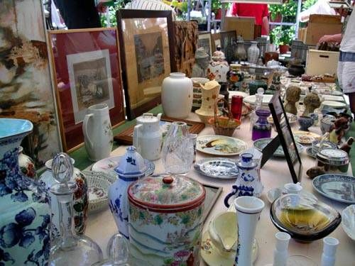 Antiques at Amsterdam's Noordermarkt Flea Market also other Scenes from Amsterdam's Open Air Markets.