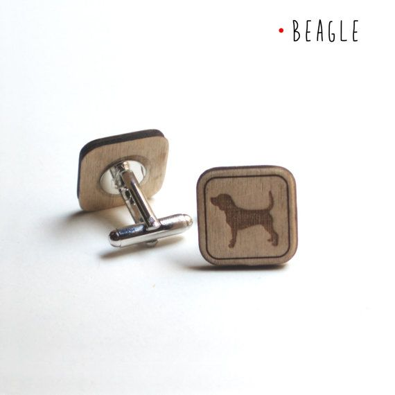 BEAGLE CUFFLINKS, WOOD, dogs lovers, pets lovers  by DARQDESIGN