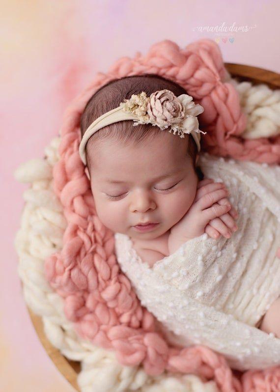 Newborn Headband Baby Girl Tieback Neutral Tieback Baby Headband Jersey Tieback Tieback