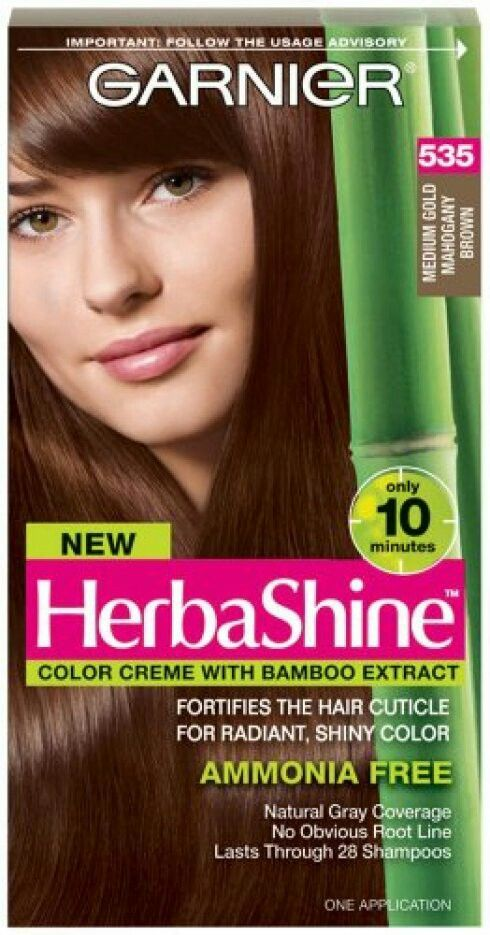 Beautifully rich medium gold mahogany Brown hair color at home Garnier 535. Picture on new box has changed but this older picture is a truer idea of color
