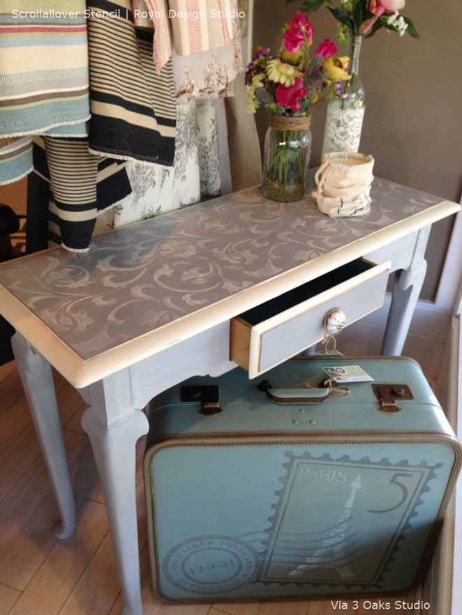 Revamp a tired dresser or table with furniture stencils! Our Scrollallover Furniture Stencil is the perfect allover pattern with leaves and vines intertwining to make a lovely painted furniture projec