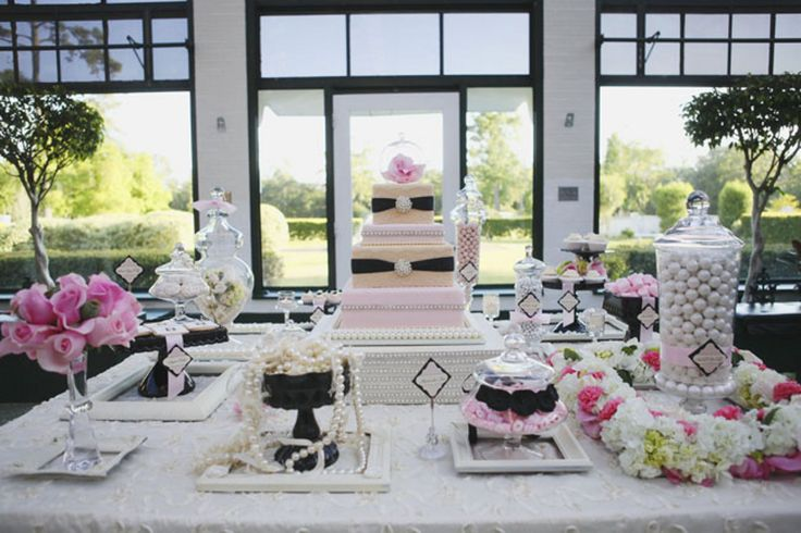 Now this is a sweets table! (www.7centerpieces.com/pearls-and-lace-wedding-shoot-by-sarah-e-evans/) | La Belle Fleur Wedding Designs & Events (lbfdesigns.com) and Sarah e. Evans Photography (saraheevansphotography.com)