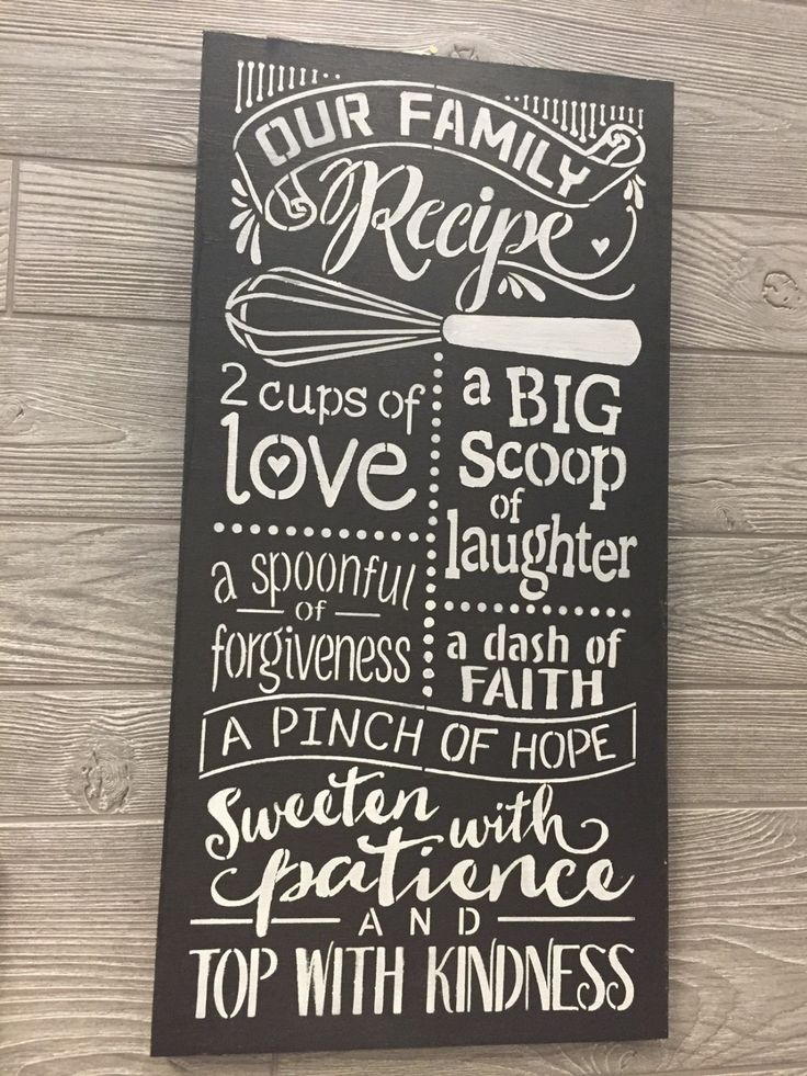 Our Family Recipe Wood Kitchen Sign Kitchen Wall Art Kitchen Wood Sign Wall Art Family Inspirational Wood Sign Wall Art Kitchen Decor