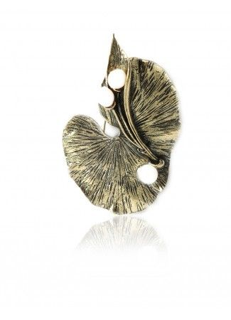 Leaf With Pearl Broach, 2-In-1 Lotus Leaf With Pearls - Pearl Broach