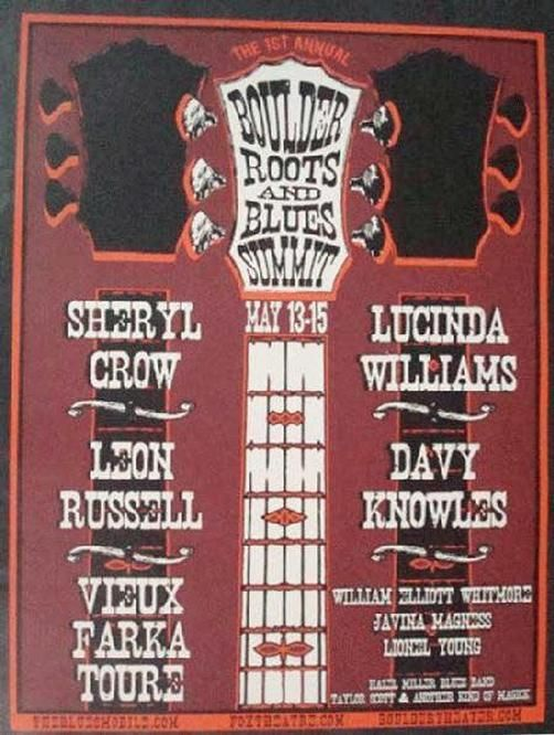 Original silkscreen concert poster for Sheryl Crow, Leon Russell, Lucinda Williams and many more for the Boulder Roots and Blues Summit at The Boulder Theater in Boulder, CO in 2011. 18 x 24 inches.
