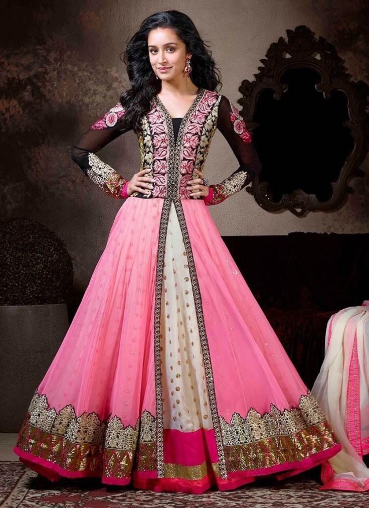 VandV Black & Pink Fabulous Heavy Designer Anarkali Suits
