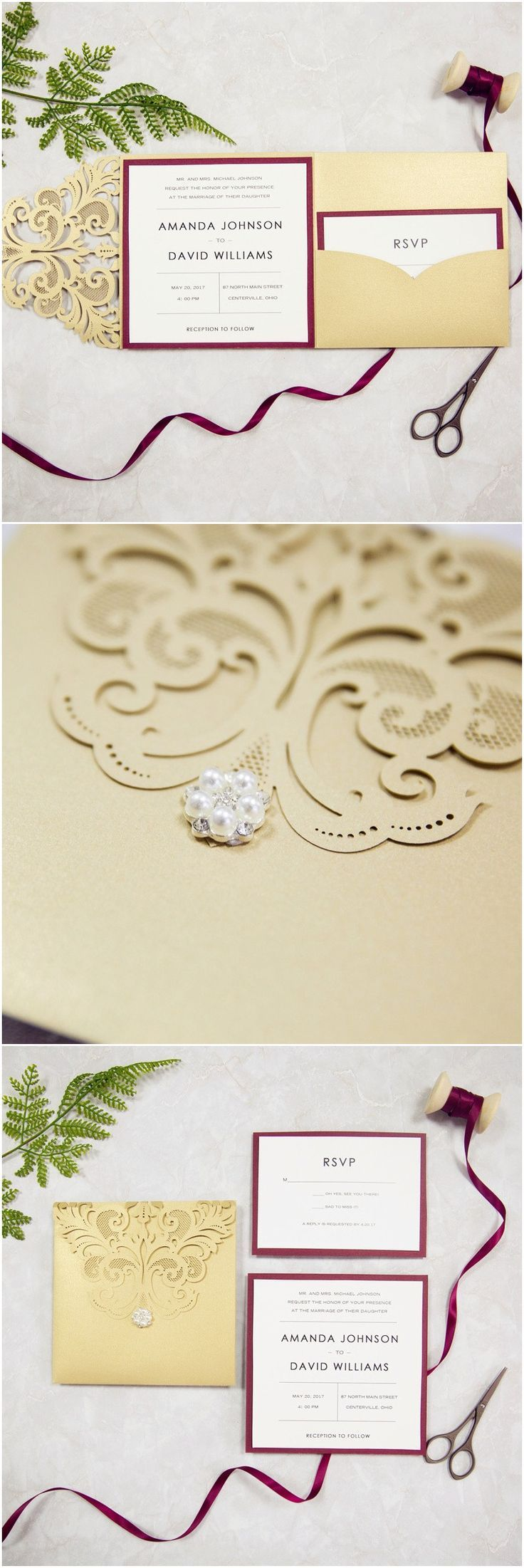 Pocket Laser Cut Wedding Invites In Gold