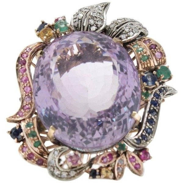 Luise 16.90 Carat Purple Topaz Sapphire Emerald Ruby Diamond Silver... (4.055 BRL) ❤ liked on Polyvore featuring jewelry, rings, cocktail rings, purple, gold sapphire ring, gold diamond rings, purple diamond ring, diamond cocktail rings and gold ruby ring