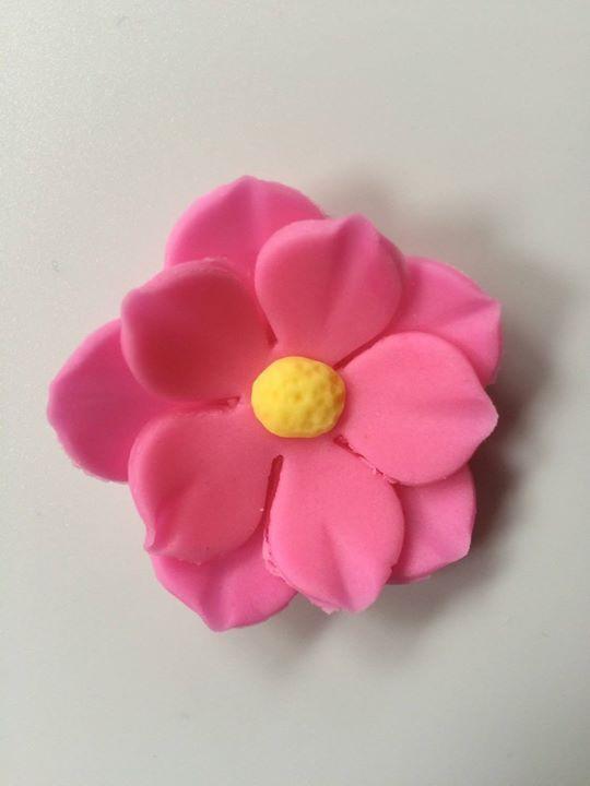 fondant flowers 12 Pink yellow center Hawaiian tropical edible flowers cupcake cake toppers rose decoration wedding birthday Easter by InscribingLives (18.99 USD) http://ift.tt/1PrTQiQ