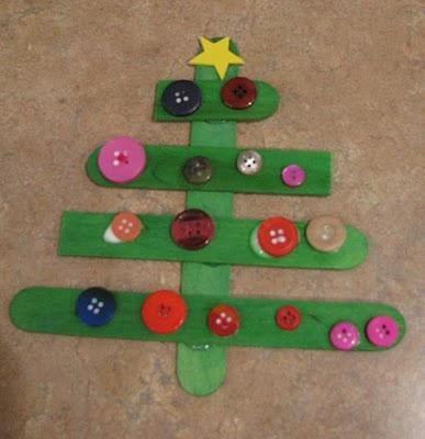 Craft Stick/Button Christmas Tree