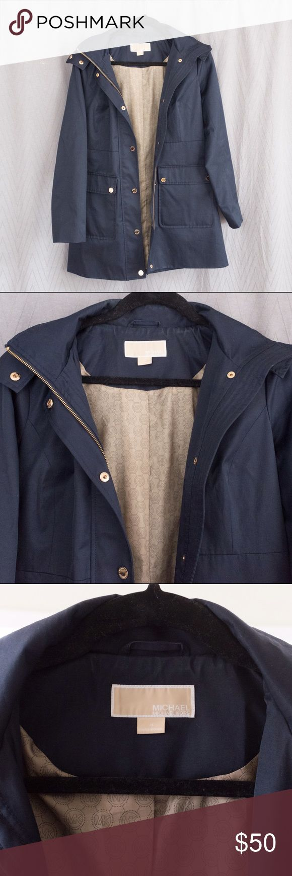 Michael Kors Navy Blue Parka XS Hooded Navy Blue Parka with gold zipper and button detailing, two front pockets, removable hood; Good condition MICHAEL Michael Kors Jackets & Coats Utility Jackets