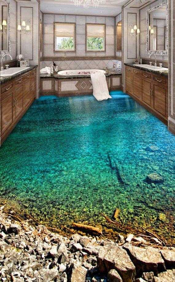 3d Water Rocks Steps 232 Floor Wallpaper Mural Floor Mural Floor Murals Floor Wallpaper 3d Floor Painting