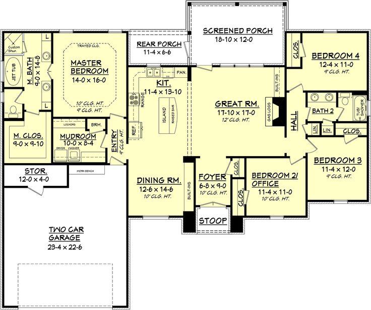 European style house plan 4 beds 2 baths 2000 sq ft plan for Floor plans european style