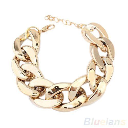 Fashion Womens Chunky Curb Chain Link Plastic Bracelet NEW Arrival BD4U   eBay