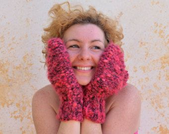 pink wool gloves – Etsy