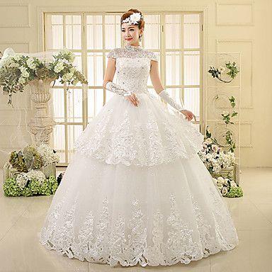 Balowa+Suknia+ślubna+Sięgająca+podłoża+Wysoki+Koronka+z+–+CAD+$+111.19